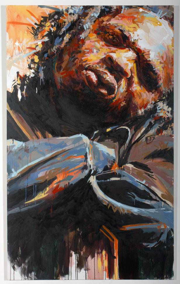 "MICHAEL VASQUEZ  Untitled 2007  mixed media on canvas  96 x 60"""