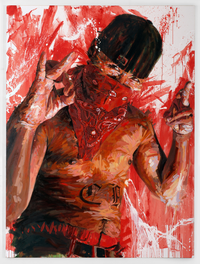 "MICHAEL VASQUEZ  ""The Upholding and Protection of the Crown - The Red Mask of Justice"" 2007  mixed media on canvas  96 x 72"""