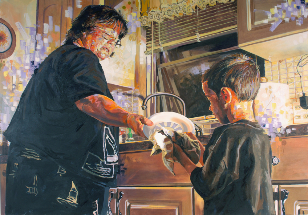 "MICHAEL VASQUEZ  ""A Lesson In Household Responsibility"" 2006  acrylic, oil, and spray paint on canvas  71 x 109"""