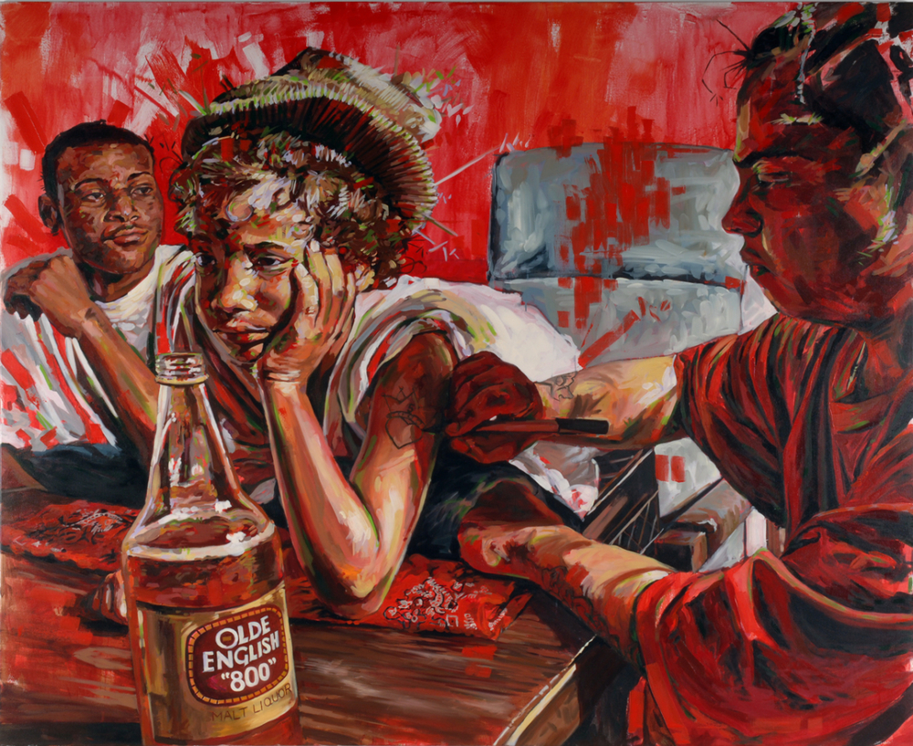 "MICHAEL VASQUEZ  ""A Sign That They Really Cared"" 2006  acrylic, oil, and spray paint on canvas  96 x 78"""