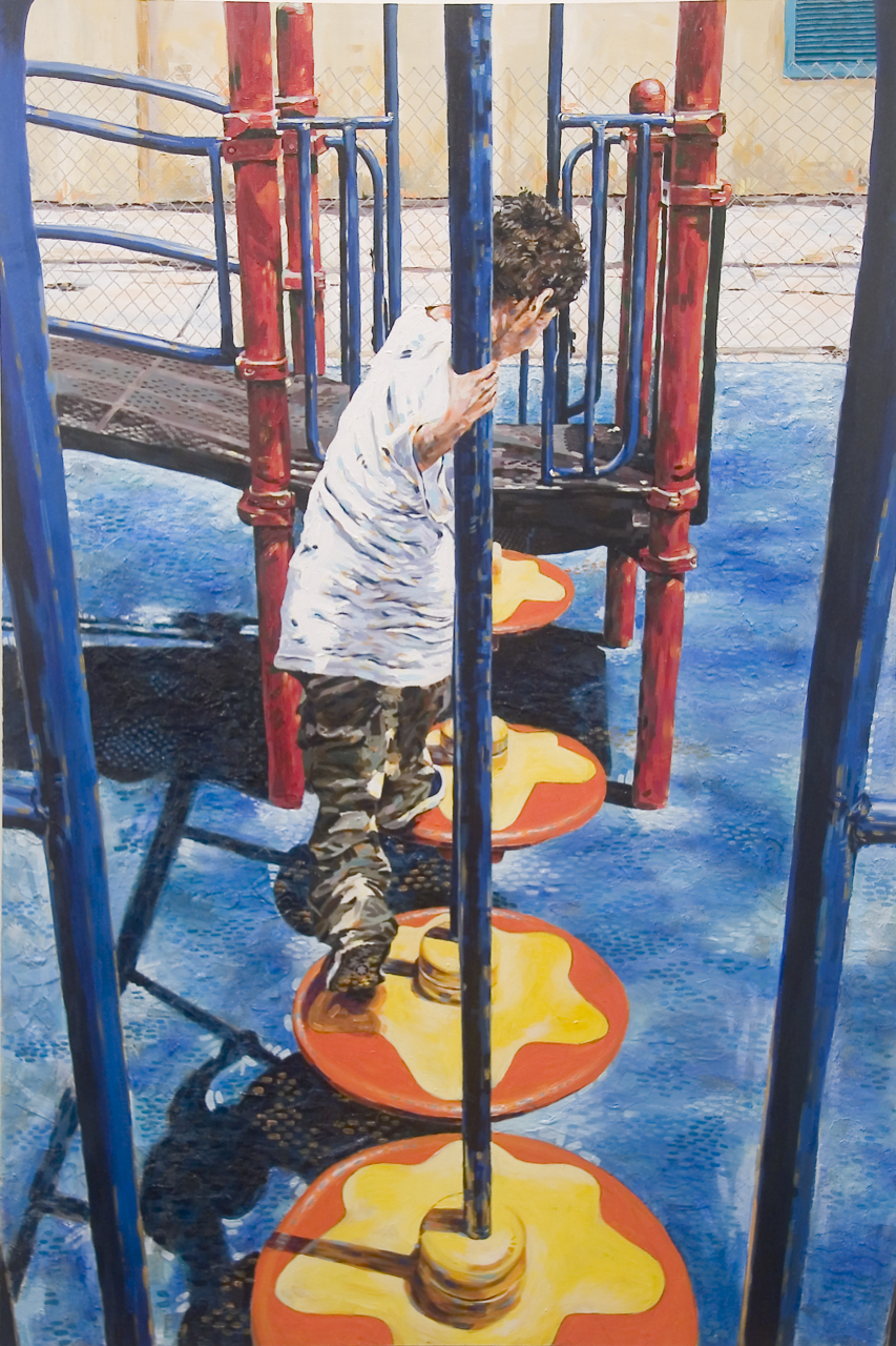 "MICHAEL VASQUEZ  ""I Found A Path Through The Obstacle Course"" 2006  mixed media on canvas  72 x 48"""