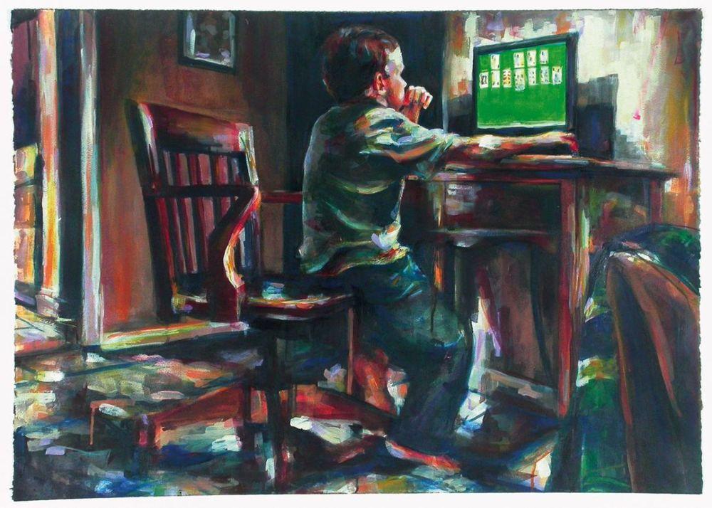 "MICHAEL VASQUEZ  ""Solitaire"" 2005  mixed media on paper  24 x 36"""