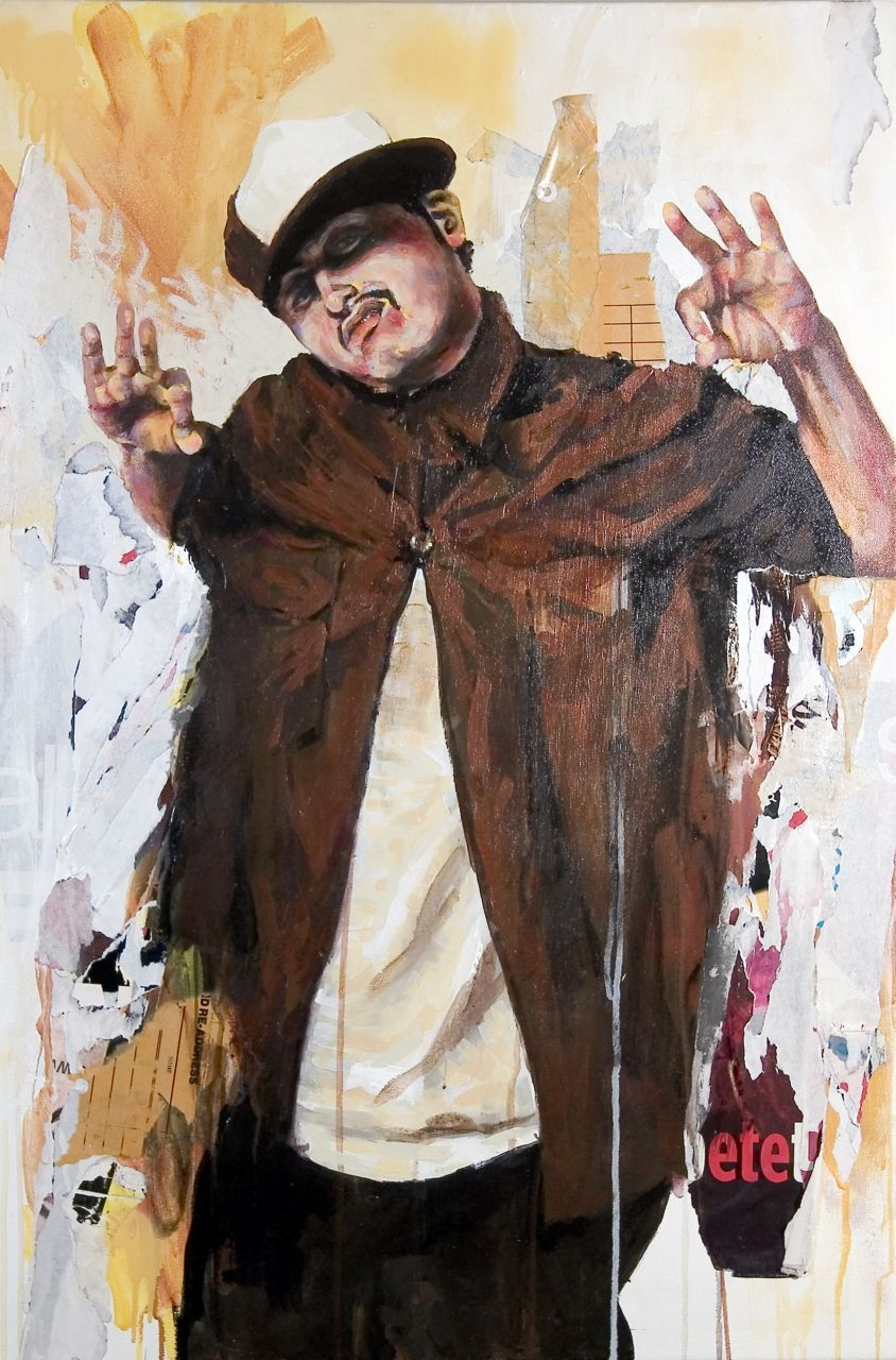 "MICHAEL VASQUEZ  ""Tampa Tony"" 2005  mixed media on canvas  36 x 24"""