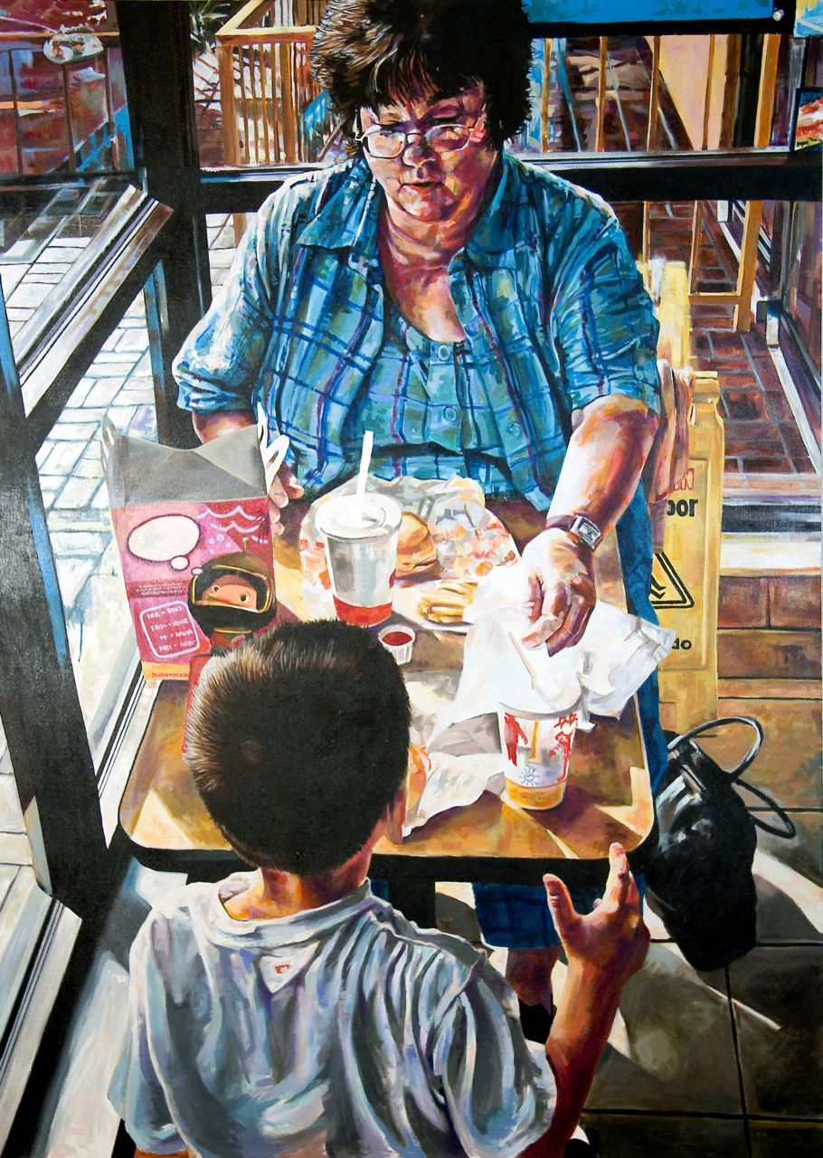 "MICHAEL VASQUEZ  ""Dinner With Mom - As Soon As She Got Off Work"" 2005  acrylic on canvas  84 x 60"""
