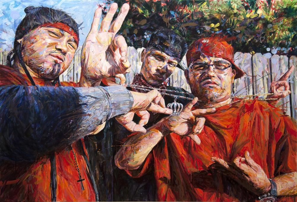 "MICHAEL VASQUEZ  ""Chain Strangle"" 2010  acrylic on canvas  60 x 84"""