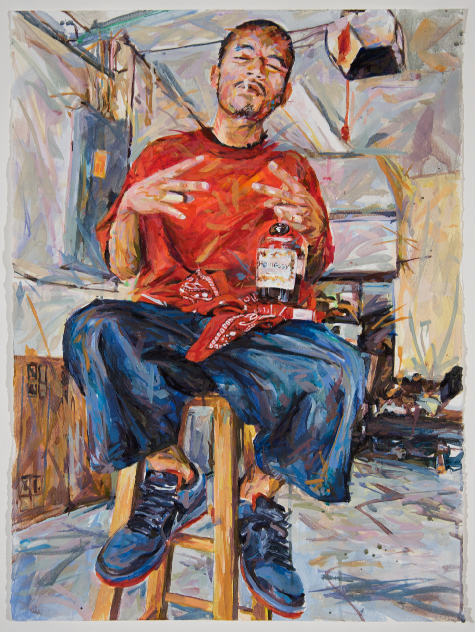 "MICHAEL VASQUEZ  ""Reds and Henn"" 2010  acrylic on paper  30 x 22"""