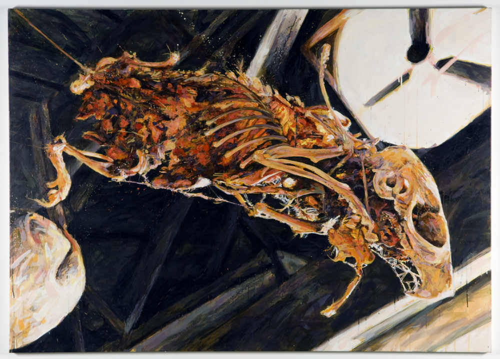 "MICHAEL VASQUEZ  ""Don't Tell Anyone"" 2009  acrylic on canvas  60 x 84"""