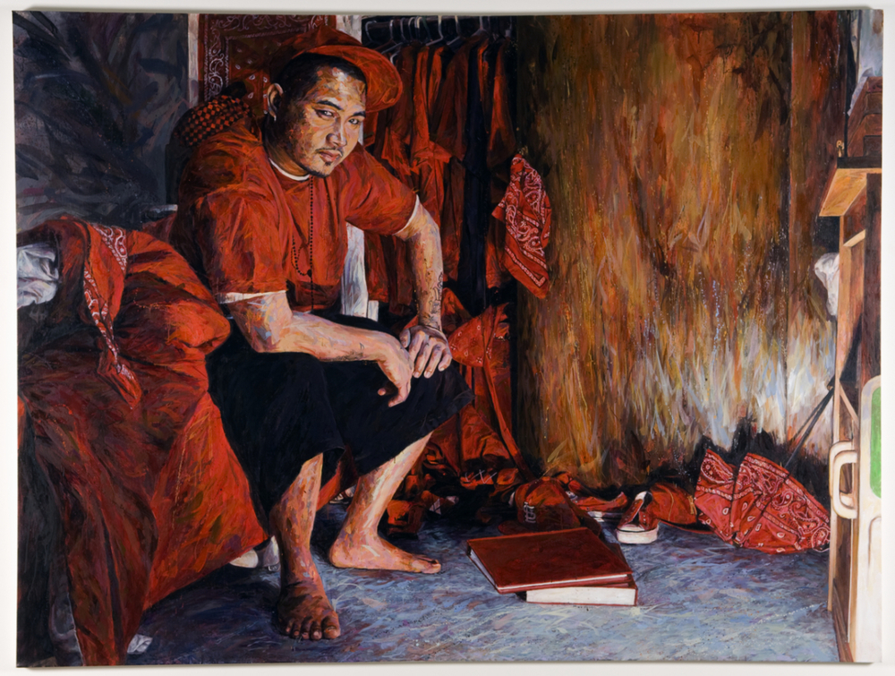 "MICHAEL VASQUEZ  ""The Red Wardrobe"" 2009  acrylic on canvas  90 x 120"""