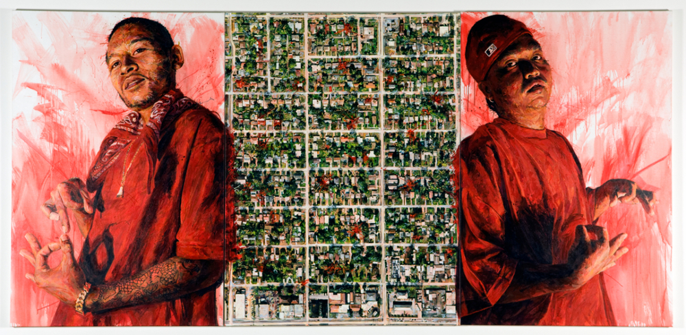 "MICHAEL VASQUEZ  ""The Lay of the Land"" 2009  acrylic on canvas  Triptych 72 x 150"" total"