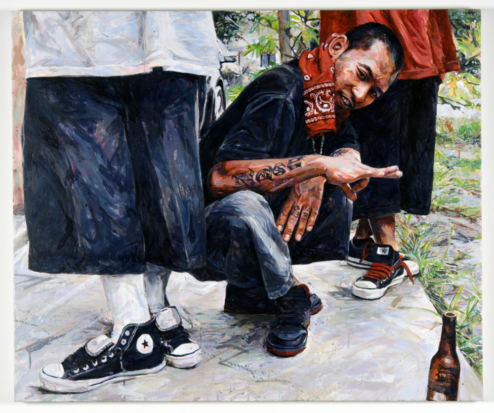 "MICHAEL VASQUEZ  ""How To Stand For Something"" 2009  acrylic on canvas  40 x 48"""