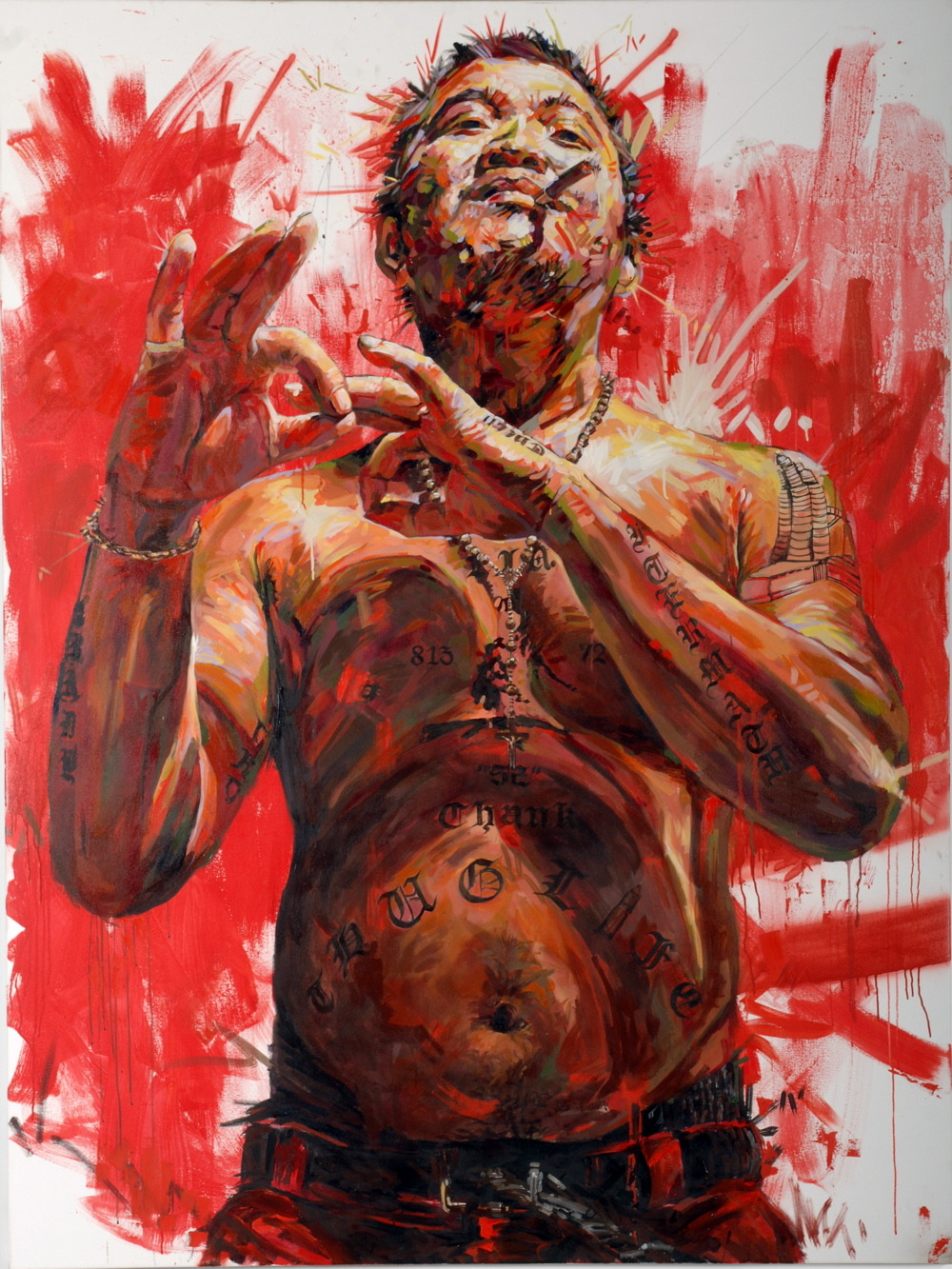 "MICHAEL VASQUEZ  ""Friendly Fatherly Figures - Bloody Buddy Row"" 2006  acrylic, oil, and spray paint on canvas  96 x 72"""