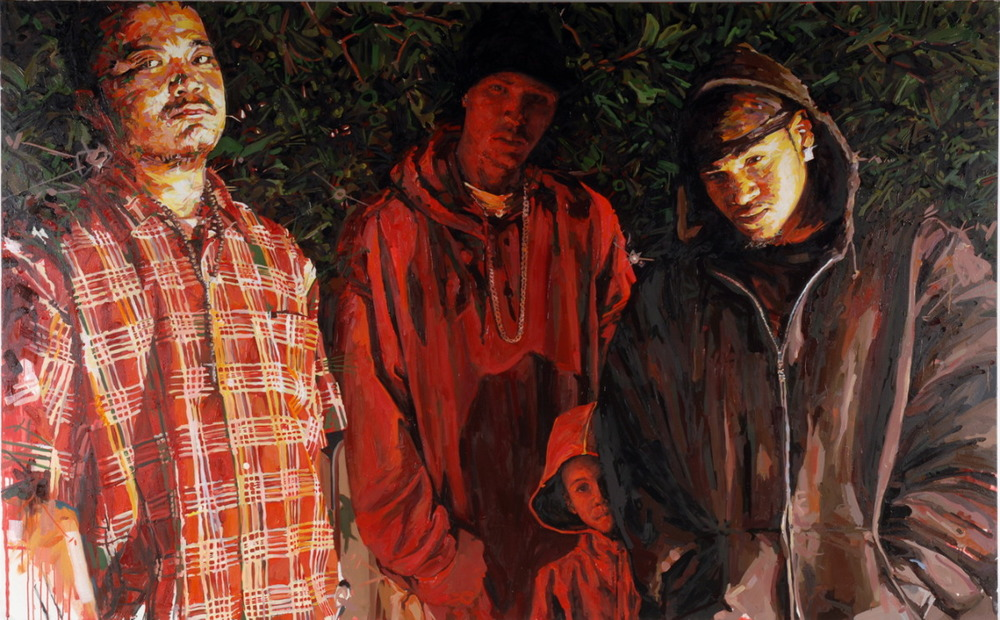 "MICHAEL VASQUEZ  ""Three Lifeguards"" 2007  acrylic and oil on canvas  70 x 110"""