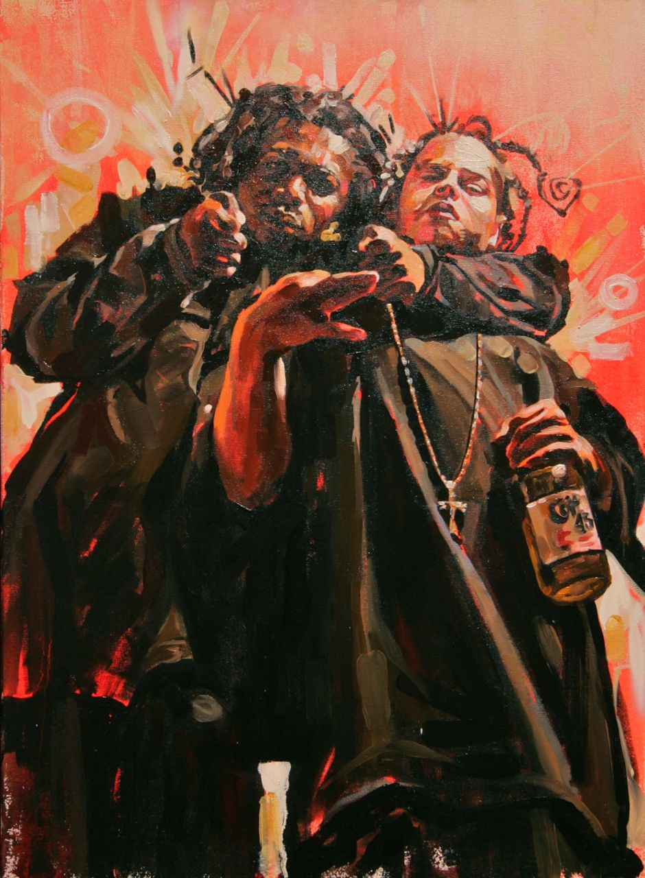 "MICHAEL VASQUEZ  ""Two Times For 29th N The Cayne"" 2007  oil on canvas  30 x 22"""