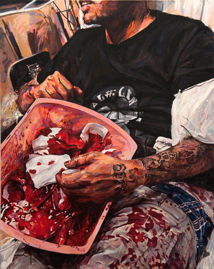"MICHAEL VASQUEZ  ""Blood Bath"" 2012  acrylic on canvas  60 x 48"""