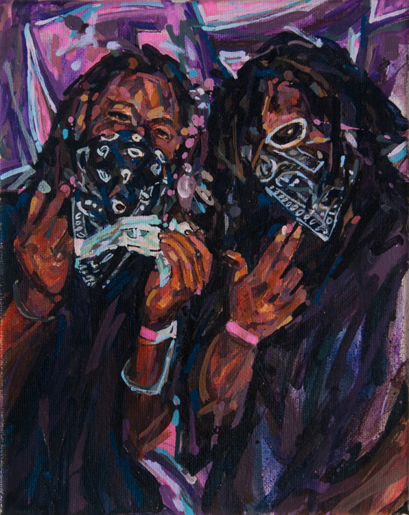 "MICHAEL VASQUEZ  ""Shootaz On Deck"" 2013  acrylic and paint marker on canvas  10 x 8"""