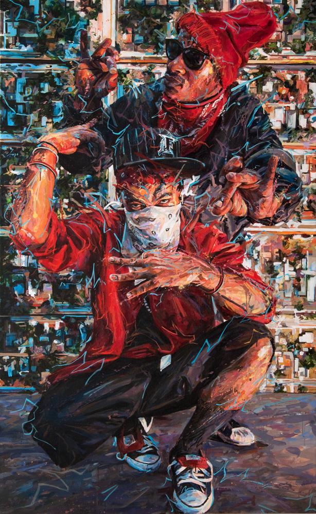 "Michael Vasquez  ""Neighborhood Legends - Control, Power"" 2014  acrylic and acrylic spray paint on canvas  84 x 51.5"""