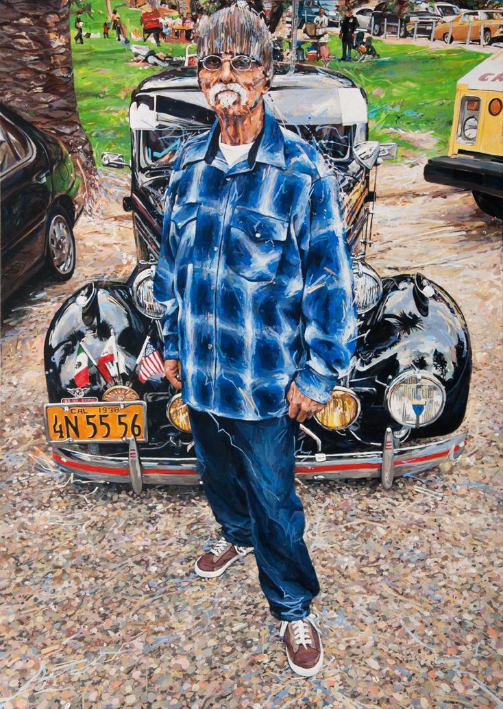 """MICHAEL VASQUEZ  """"Elysian Park - Fabian"""" 2014  acrylic and acrylic spray paint on canvas  84 x 60"""""""