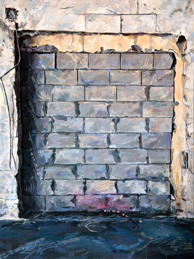 "Michael Vasquez ""Brick Wall (Obstacle 3)"" 2015 acrylic and acrylic spray paint on canvas 48 x 36"""