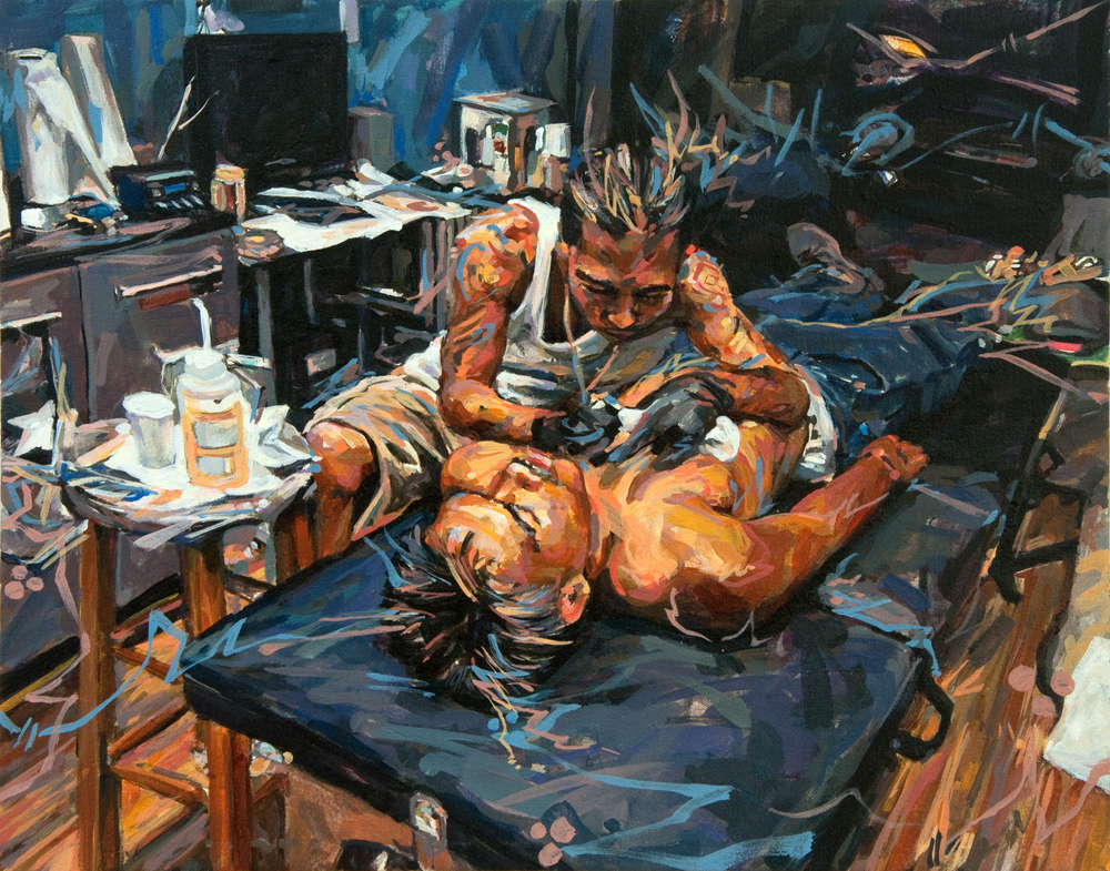 "Michael Vasquez ""The Operating Table"" 2015 acrylic on canvas wrapped and cradled board 16 x 20"""