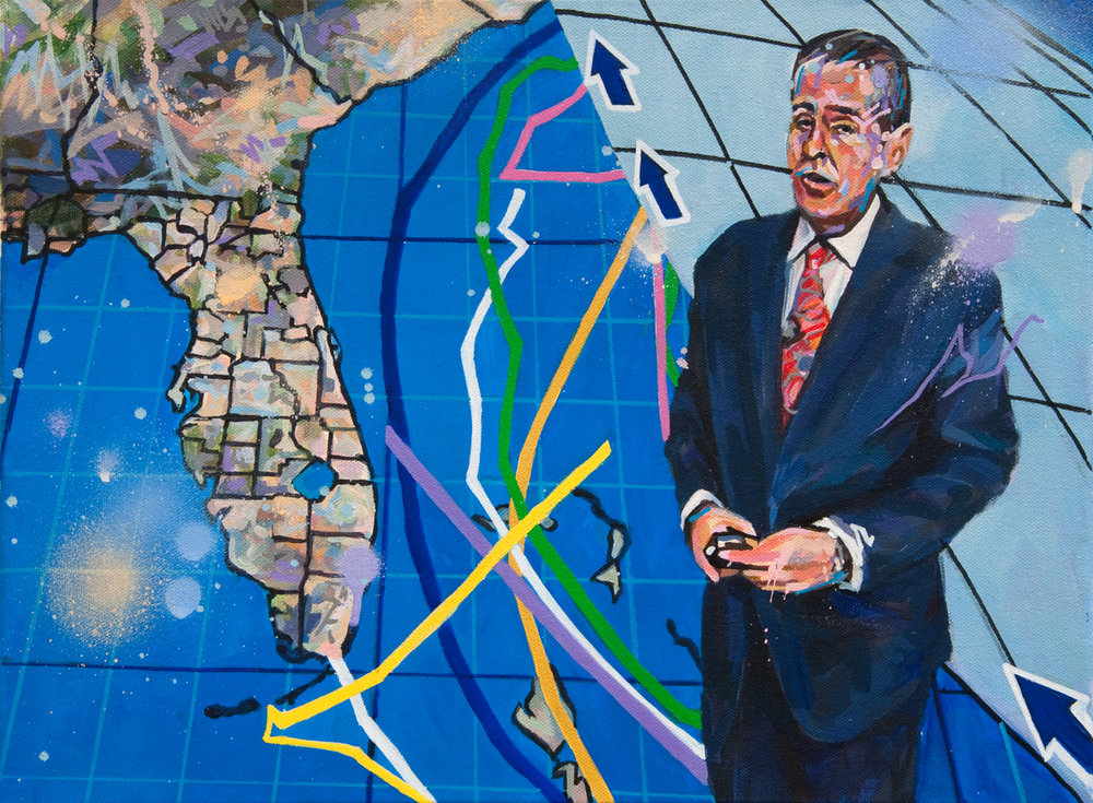 "Michael Vasquez ""Special Weather Report - Ch 7"" acrylic and acrylic spray paint on canvas 12 x 16"""