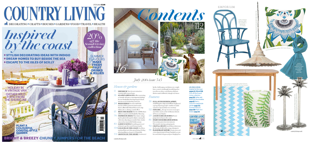 Country Living Magazine UK British Fanny Shorter 2014 June interiors cushions cushion passion flower design art artist green blue hand printed fabric