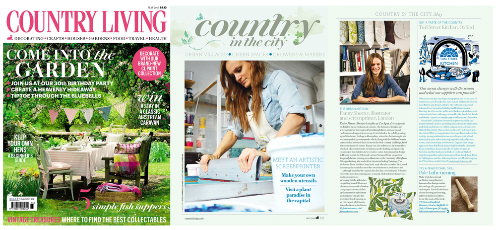 Fanny Shorter Country Living Interview 2015 Cushion Cushions Fabrics Hand Printed Portrait Artist Screen printer hand printed interiors magazine