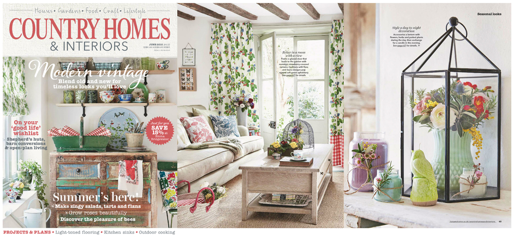 Country Homes & Interiors Interior Design Fanny Shorter Press 2015 Cushions Cushion Fabric Fabrics Hand Printed Blue Green Vintage Furnishing