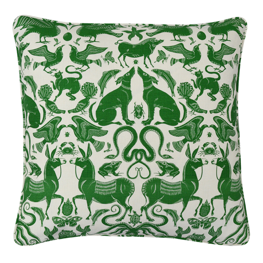 BIRDS & BEASTS Large Cushion | Cypress