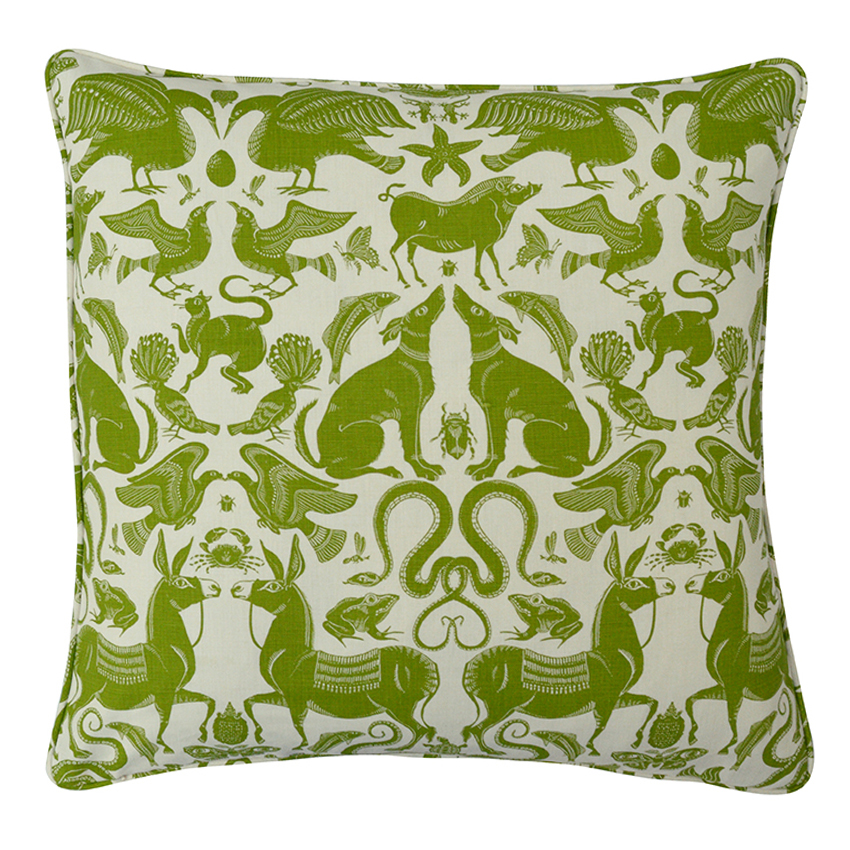 BIRDS & BEASTS Large Cushion | Olive