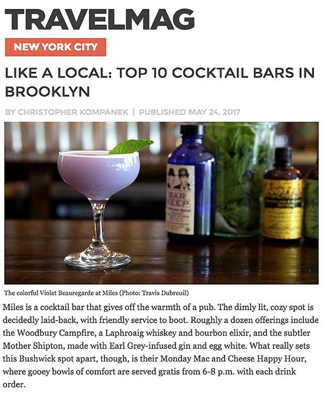 Thanks to Travelmag.com for listing us in their top 10 cocktail bars in Brooklyn! We're in good company along with @cloverclubny and @dramstagram and Bushwick friends @yourssincerelybk and @thejohnsonsbushwick just to name a few. Bushwick represent! 🔥💪🍹