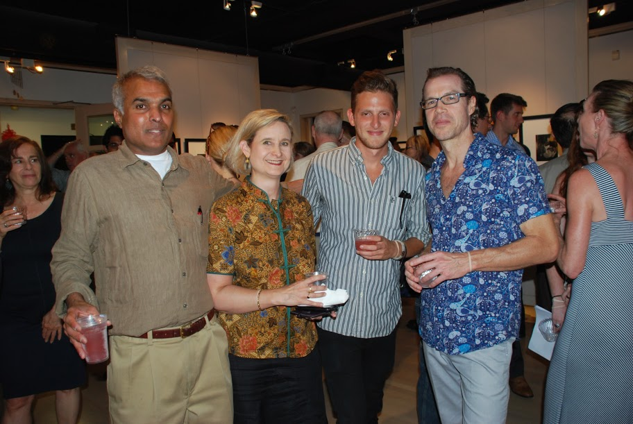 Ignatius Chithelen, Andrea Saturno-Sanjana, Douglas Brundage, Patrick Scott and Susan Scott. Silley Circuits Networking July 16 2013 at Throckmorton Fine Arts. Photo (c) Daria Deshuk