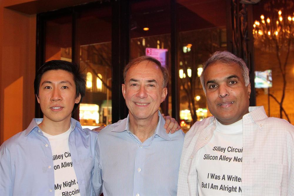 Spencer Cheng, Jerry Marcus, and Ignatius Chithelen at West 3rd Common. Silley Circuits: The Silicon Alley Network.