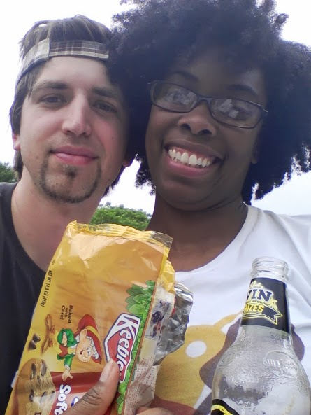 Rob and me having a romantic picnic between stops.