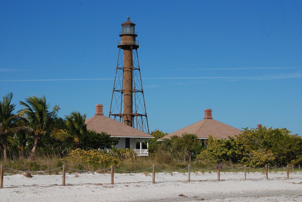 "Sanibel Lighthouse (a/k/a Point Ybel LIght).  Lighthouse Way, Sanibel.  First lit in 1884 and still in use.  One of Florida's famous ""spider lighthouses."""