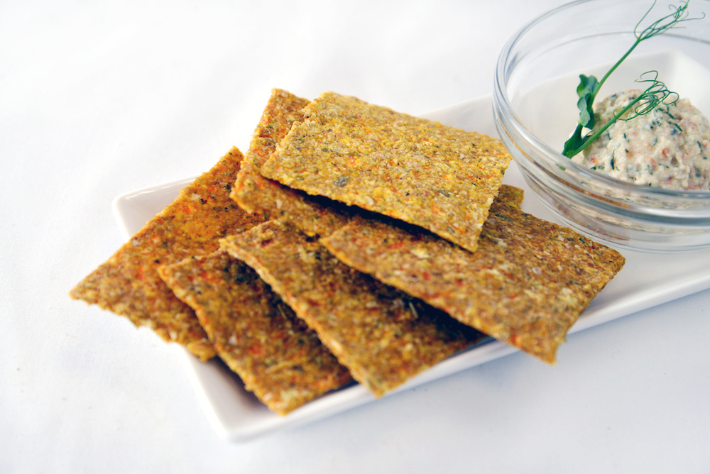 Cracker Class Sprouted buckwheat crackers with flax, celery, onion, and carrots. Great on their own or paired with your favourite spread. Tools: food processor, blender, dehydrator