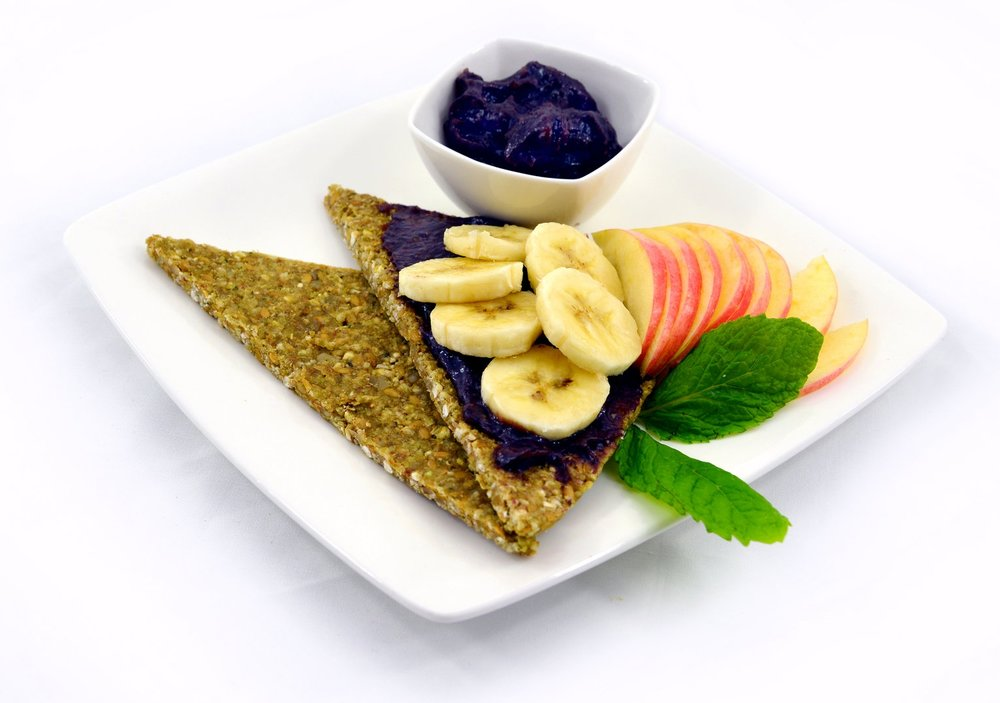 Good Morning Bread & Spread $5 - Sprouted buckwheat flatbread served with our house fruit jam and fresh fruit. + add almond butter: $2 / sub almond butter for jam: $1
