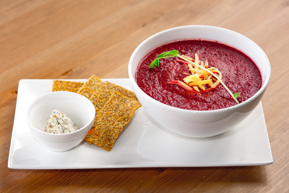 Raw Soups   Borscht or Butternut Squash with Cilantro   Served chilled with a side of Mamie's Crackers and Dill Nut Cheese.