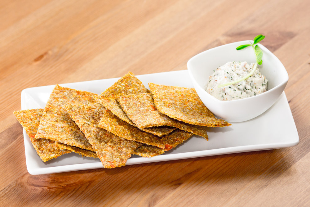 Crackers with Dill Nut Cheese   or Nut Pâté   Option of Extra Scoop of Dill Nut Cheese or Nut Pâté