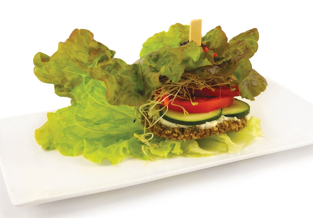Falafel     Chick pea & cilantro patty, nut cheese, tomato, cucumber, sprouts, wrapped in a lettuce leaf.
