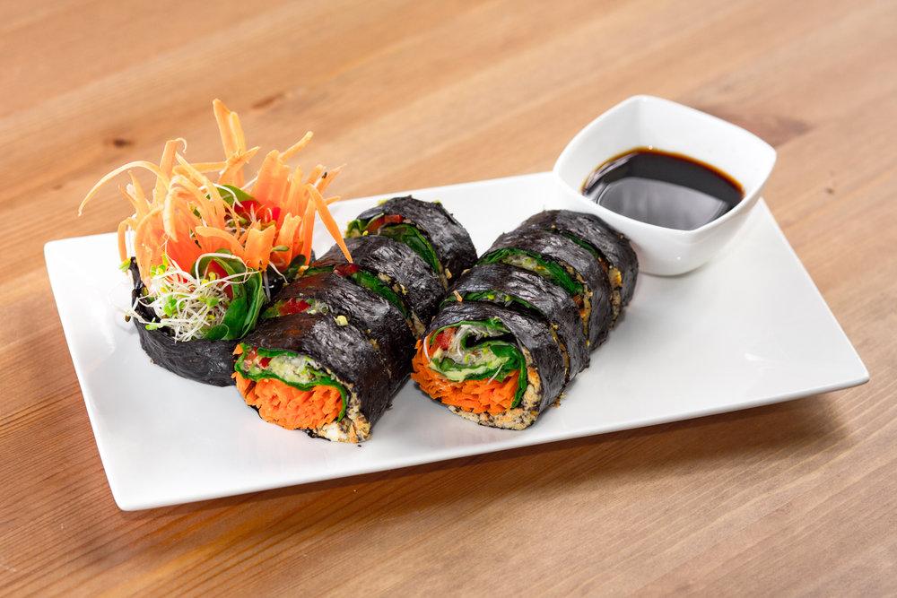 Nori Rolls    Sea pâté, avocado, julienne carrots, bell pepper, spinach, wrapped in Nori paper.