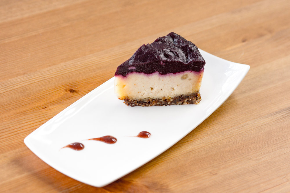 Lemon Blueberry Coulis Cake    With young coconut meat and a blueberry coulis.