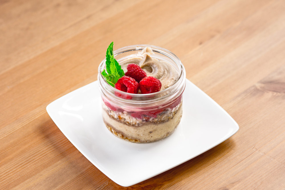Lucuma Parfait   Sweet maple like flavour, with a raspberry coulis, walnut and date crumble, bananas and cashews.
