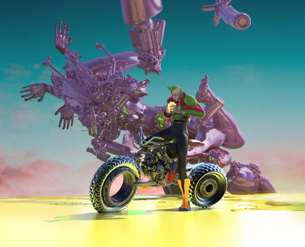 Max Brazier-Jones concept art biker custom motorbike