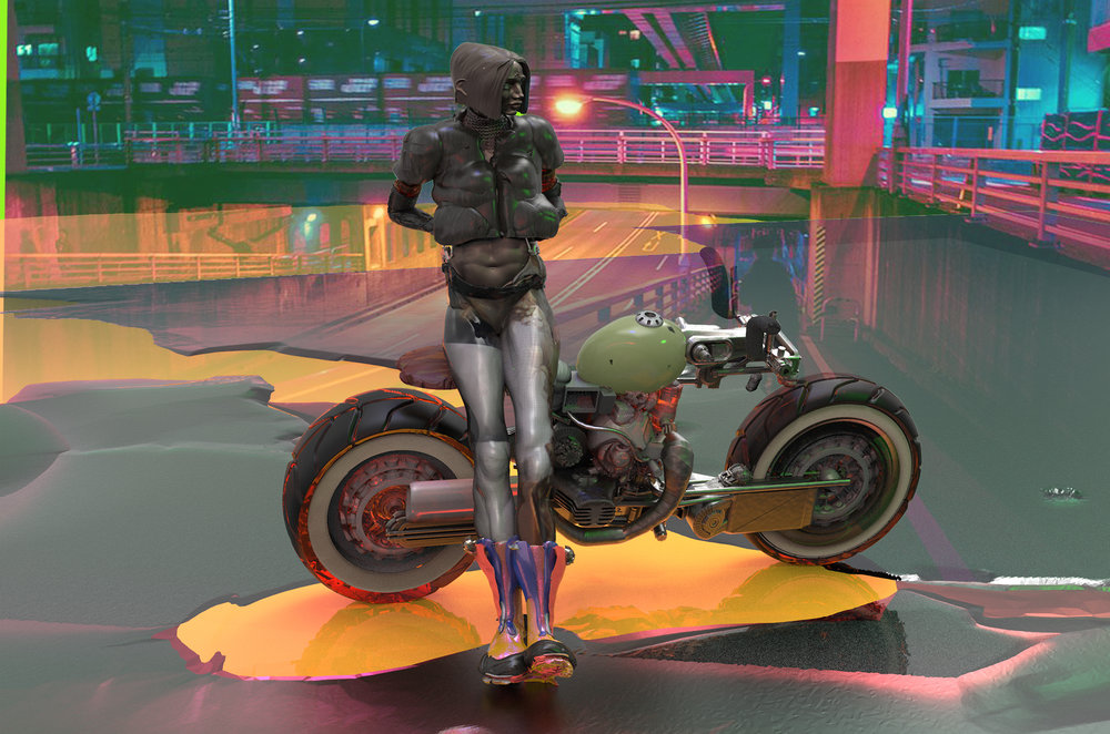 Max Brazier-Jones concept art motorbike biker neo tokyo
