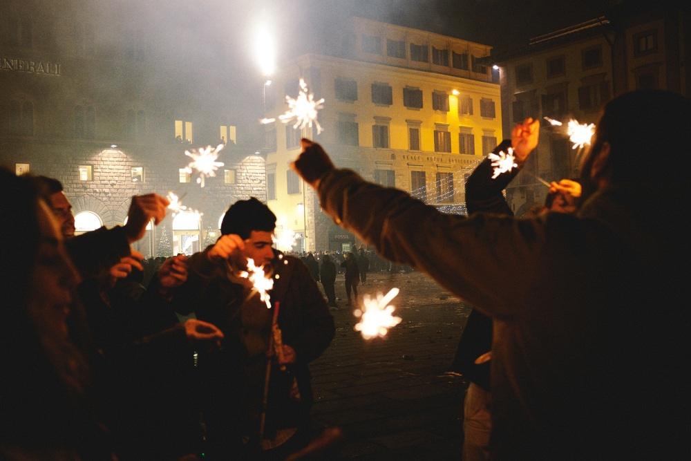 Florentines Celebrating with Sparklers on the Streets