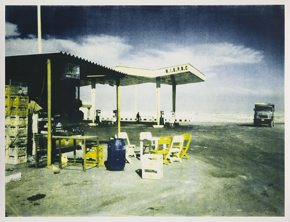 Shirana Shahbazi,  From the series Bern: Gasstation , 2014, Two-colored lithography on Zerkall Bütten Paper framed in white glazed maple frame, behind non-reflective glass, 94 x 122 cm, 1 AP (Ed. of 2)