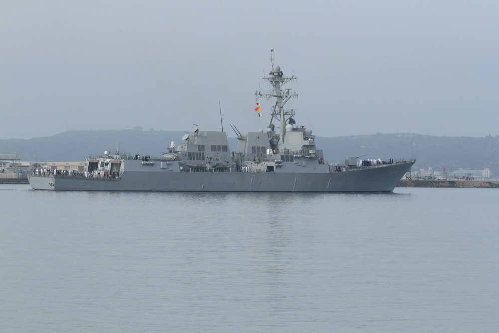 USS War Ship going out to sea