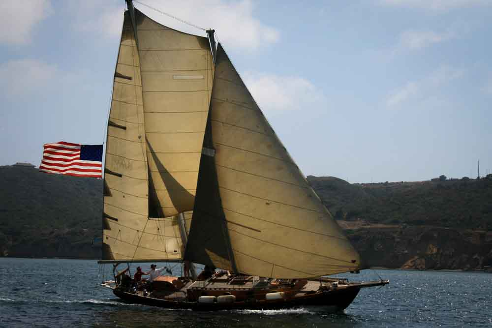 Gaff rigged ketch sailing on San Diego Bay.