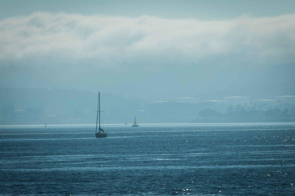 Fog rolling in San Diego Bay