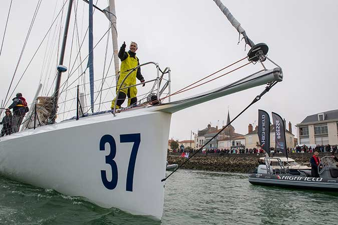 American sailor Rich Wilson gives a triumphant thumbs up after completing the Vendée Globe solo, nonstop, unassisted circumnavigation sail race. (Photo: Oliver Blanchet/DPPI/Vendée Globe)